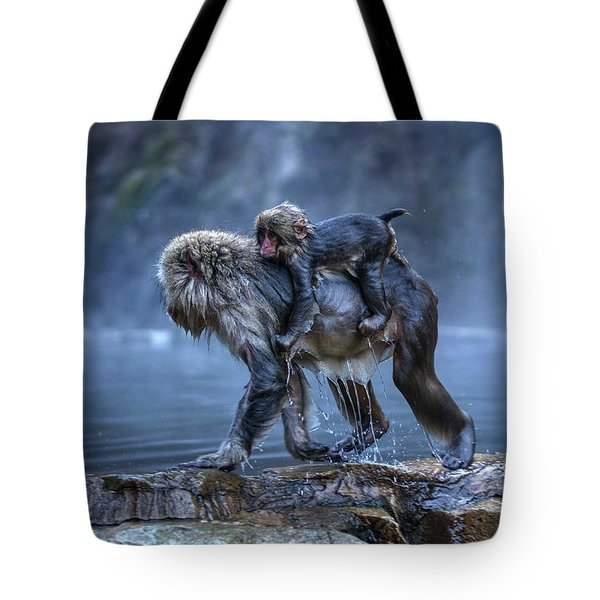 Tote Bag featuring the photograph That Was A Hot Bath. Now I Gotta Hold On Tight. by Peter Thoeny