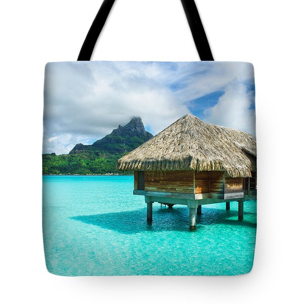 Tote Bag featuring the photograph Thatched Roof Honeymoon Bungalow On Bora Bora by IPics Photography