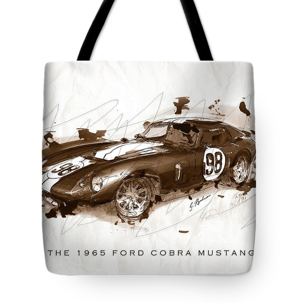 The 1965 Ford Cobra Mustang Tote Bag