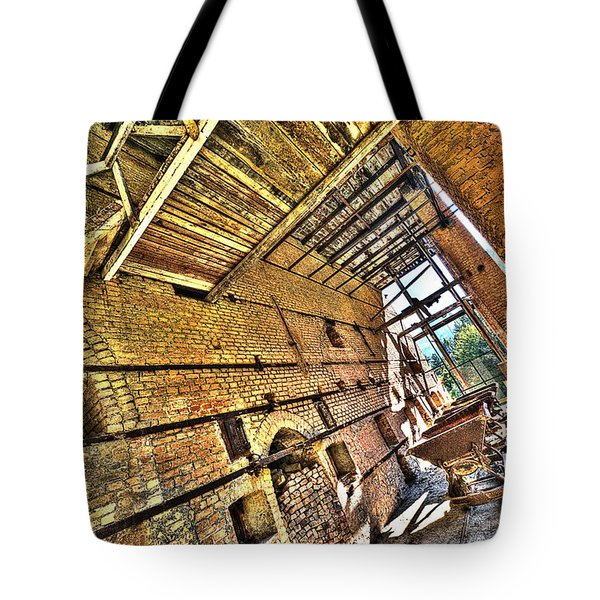 Tote Bag featuring the photograph The Abandoned Furnace Quarry Building by Enrico Pelos