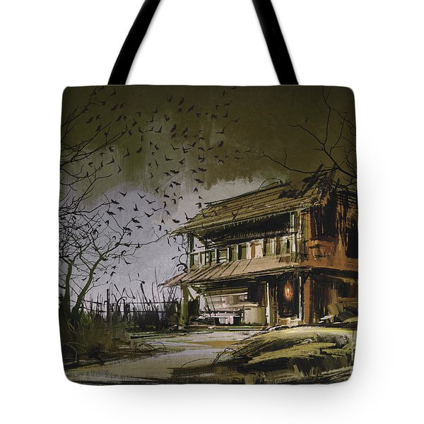 Tote Bag featuring the painting The Abandoned House by Tithi Luadthong