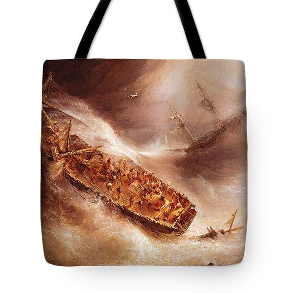 The Act Of Sacrifice Made By Captain Desse Towards The Dutch Ship Columbus Tote Bag by Jean Antoine Theodore Gudin