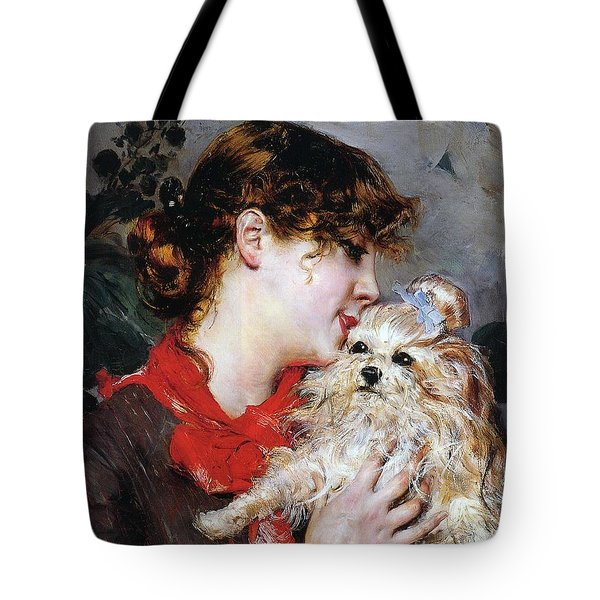 The Actress Rejane And Her Dog Tote Bag by Giovanni Boldini