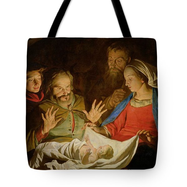 The Adoration Of The Shepherds Tote Bag by Matthias Stomer
