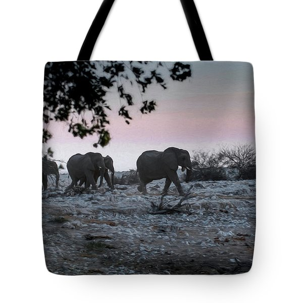 Tote Bag featuring the digital art The African Elephants by Ernie Echols