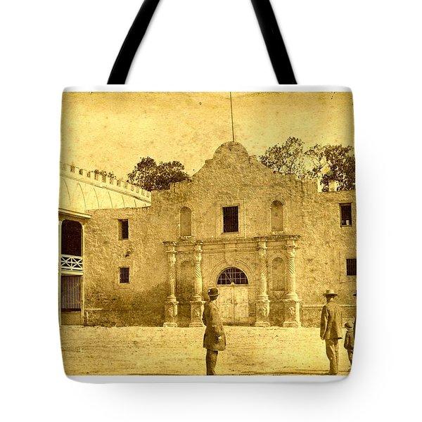 Tote Bag featuring the photograph The Alamo San Antonio Texas Circa 1880 Albumen Photograph by Peter Gumaer Ogden