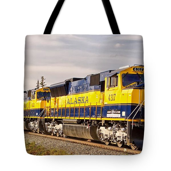 Tote Bag featuring the photograph The Alaska Railroad by Michael Rogers