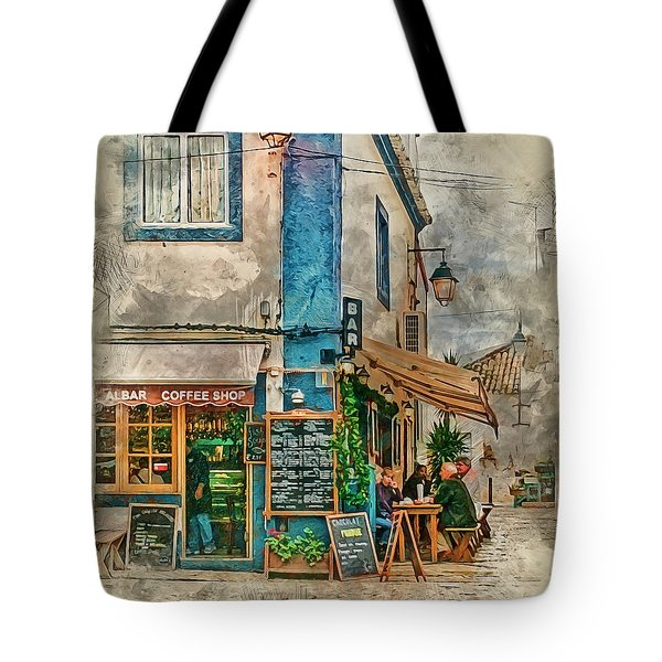 The Albar Coffee Shop In Alvor. Tote Bag