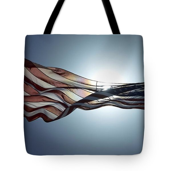 Tote Bag featuring the photograph The American Flag by Alex King