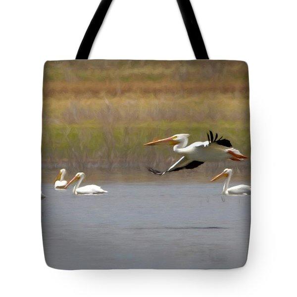 The American White Pelicans Tote Bag by Ernie Echols