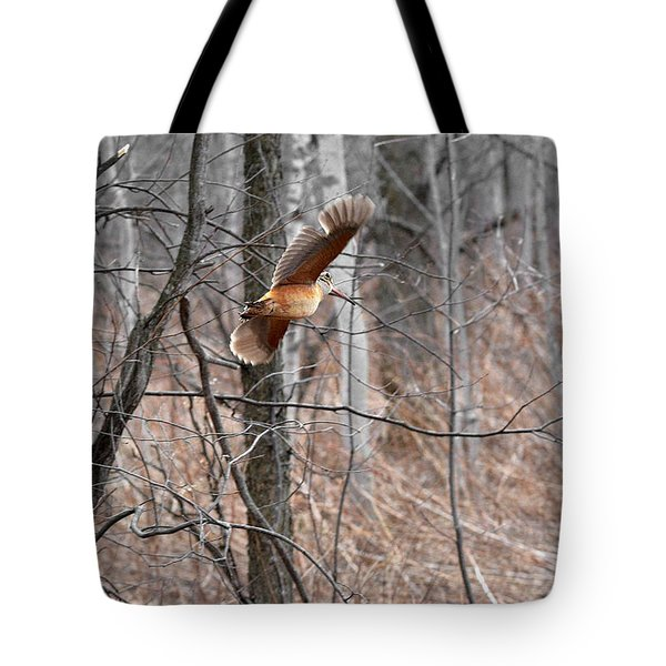 The American Woodcock In-flight Tote Bag by Asbed Iskedjian