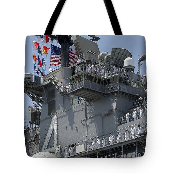The Amphibious Assault Ship Uss Boxer Tote Bag