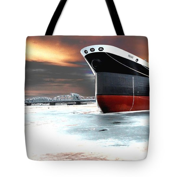 The Ship And The Steel Bridge. Tote Bag by Jake Whalen