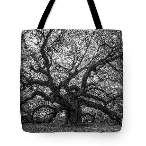 The Angel Oak Tree Bw  Tote Bag