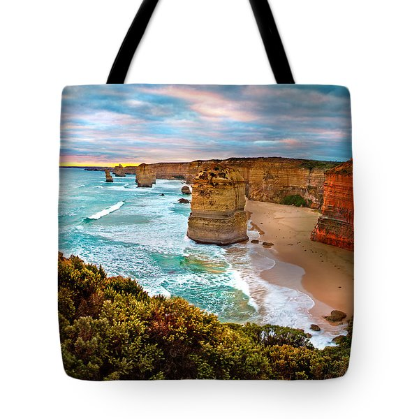 The Apostles Sunset Tote Bag by Az Jackson