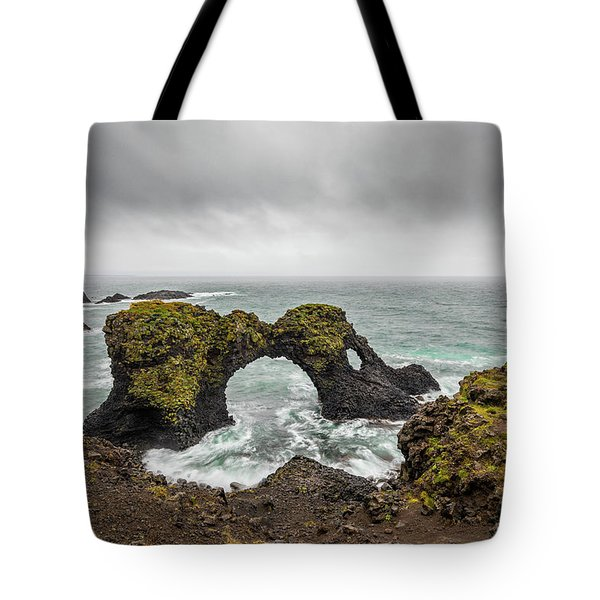 Tote Bag featuring the photograph The Arch At Gatklettur by Rikk Flohr