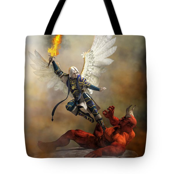 The Archangel Michael Tote Bag by Daniel Eskridge