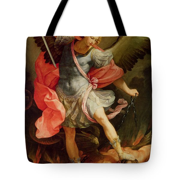 The Archangel Michael Defeating Satan Tote Bag by Guido Reni