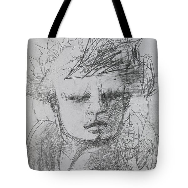 The Archangel Michael By Alice Iordache Original Drawing Tote Bag by Iordache Alice
