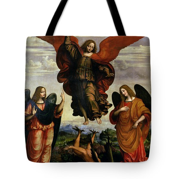 The Archangels Triumphing Over Lucifer Tote Bag