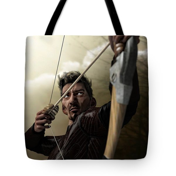Tote Bag featuring the digital art The Archer by Sandra Bauser Digital Art