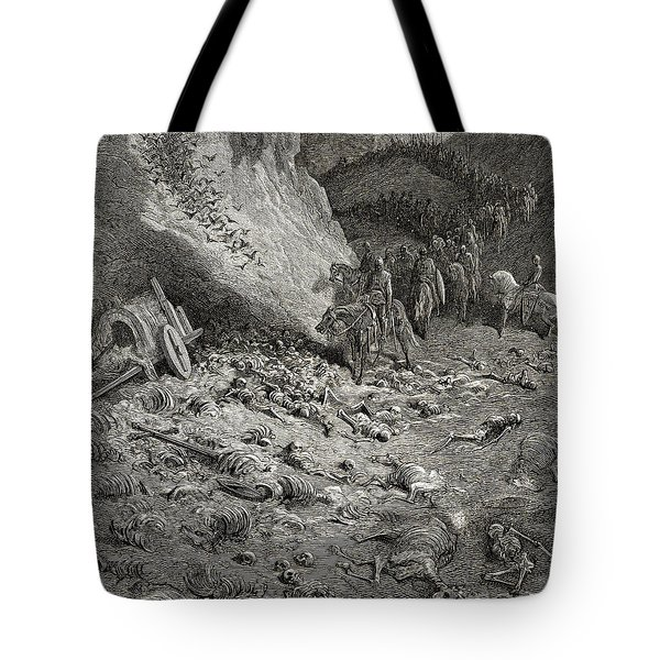 The Army Of The Second Crusade Find The Remains Of The Soldiers Of The First Crusade Tote Bag by Gustave Dore