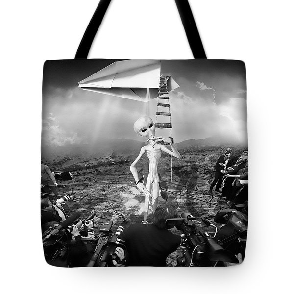 The Arrival Black And White Tote Bag