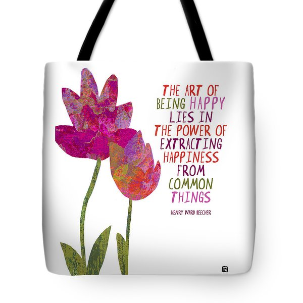 Tote Bag featuring the painting The Art Of Being Happy by Lisa Weedn