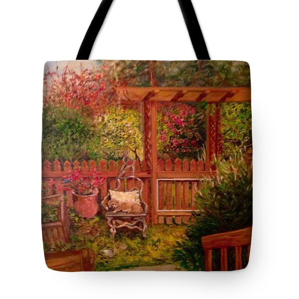 Tote Bag featuring the painting The Artist's Garden by J Reynolds Dail
