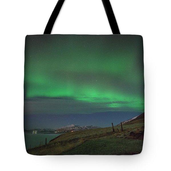 The Aurora Borealis Over Iceland Tote Bag