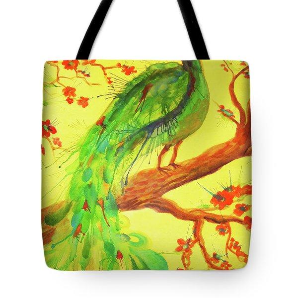 The Auspicious Peacock Tote Bag