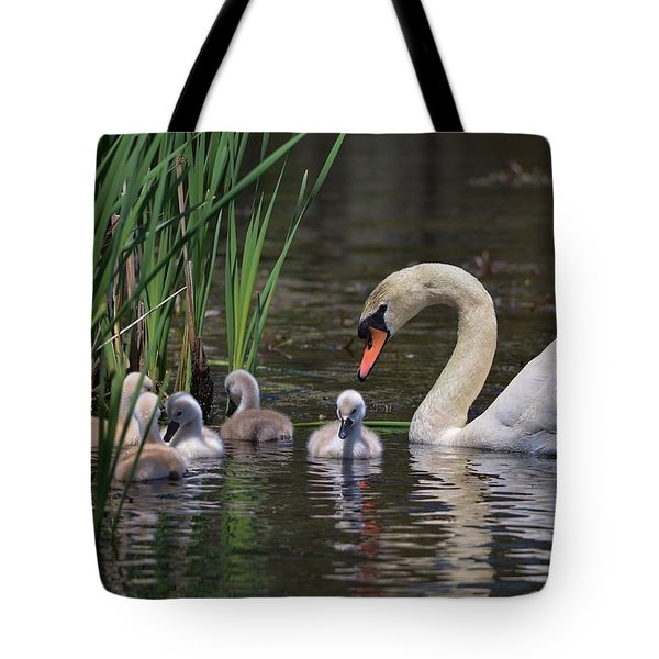 The Baby Swans With Mom Tote Bag