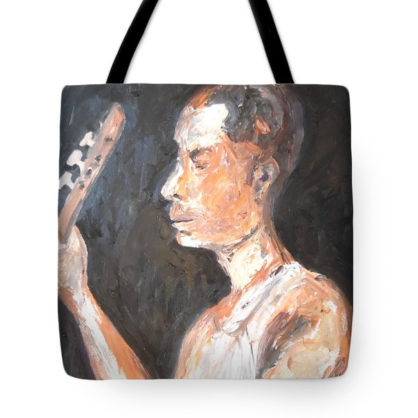 Tote Bag featuring the painting The Baglama Player by Esther Newman-Cohen