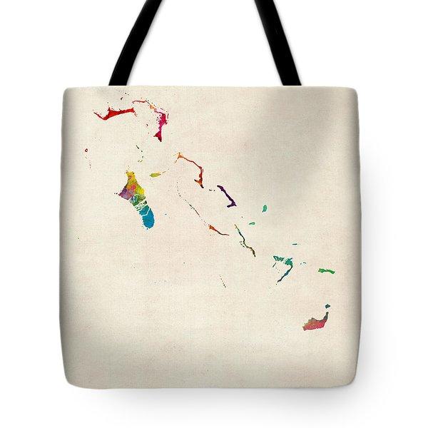 The Bahamas Watercolor Map Tote Bag