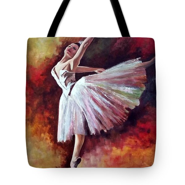 Tote Bag featuring the painting The Dancer Tilting - Adaptation Of Degas Artwork by Rosario Piazza