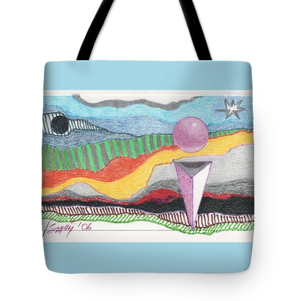 Tote Bag featuring the drawing The Bannishment Of Evil by Rod Ismay