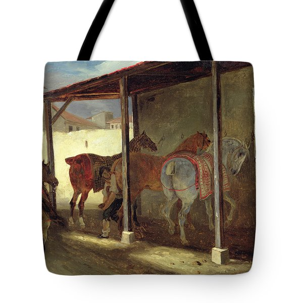 The Barn Of Marechal-ferrant Tote Bag by Theodore Gericault