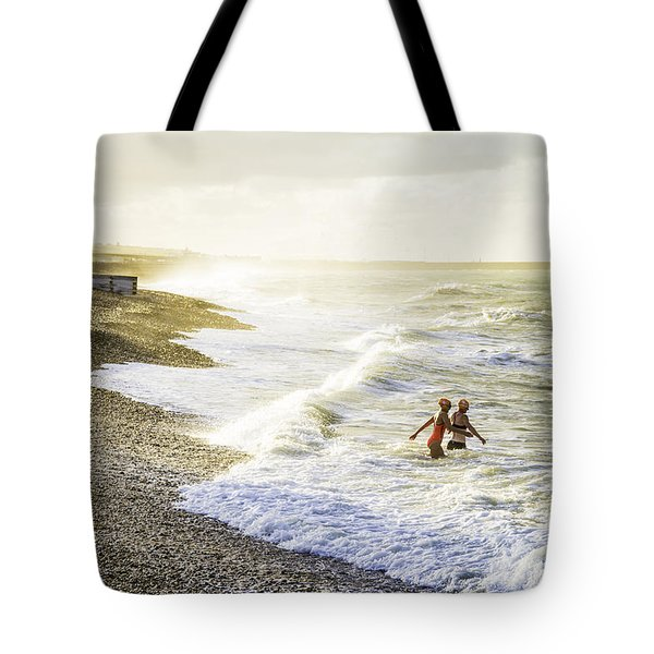 Tote Bag featuring the photograph The Bathers by Russell Styles