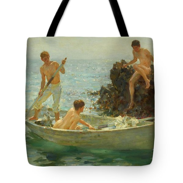 The Bathing Cove Tote Bag by Henry Scott Tuke