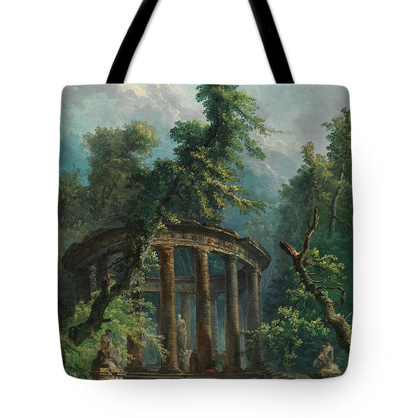 Tote Bag featuring the painting The Bathing Pool by Hubert Robert