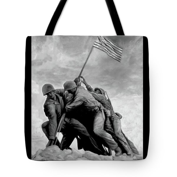The Battle For Iwo Jima By Todd Krasovetz Tote Bag by Todd Krasovetz