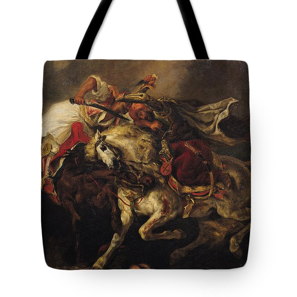The Battle Of Giaour And Hassan Tote Bag by Ferdinand Victor Eugene Delacroix