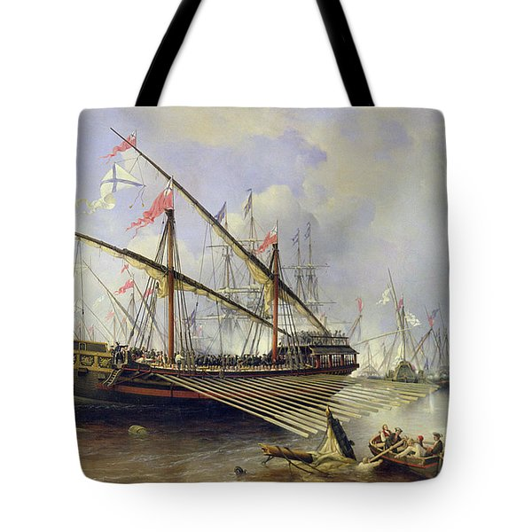 The Battle Of Grengham On 27th July 1720 Tote Bag by Ferdinand Victor Perrot
