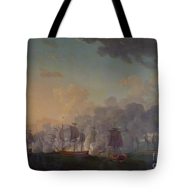 The Battle Of Louisbourg On The 21st July 1781 Tote Bag by Auguste Rossel De Cercy