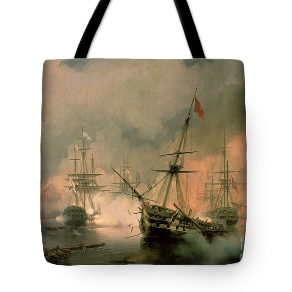The Battle Of Navarino Tote Bag by Ivan Konstantinovich Aivazovsky