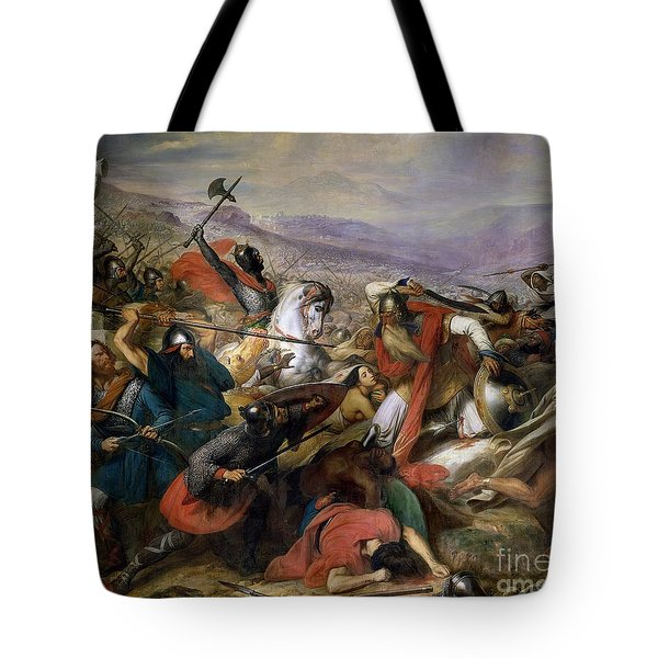 The Battle Of Poitiers Tote Bag by Charles Auguste Steuben