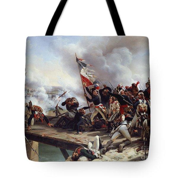 The Battle Of Pont D'arcole Tote Bag by Emile Jean Horace Vernet