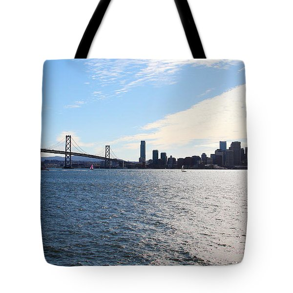 The Bay Bridge and The San Francisco Skyline Viewed From Treasure Island . 7D7771 Tote Bag by Wingsdomain Art and Photography