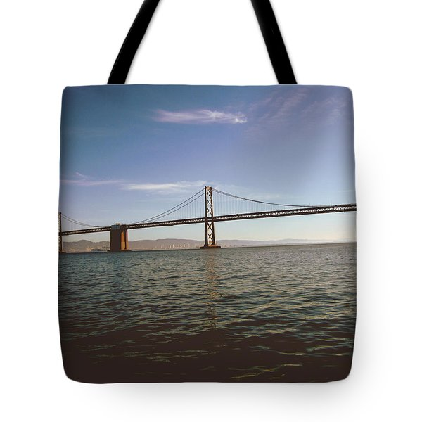 Tote Bag featuring the mixed media The Bay Bridge- By Linda Woods by Linda Woods
