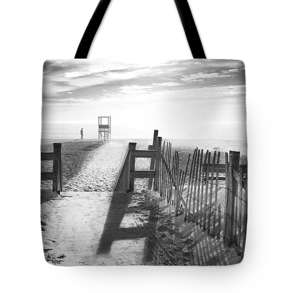The Beach In Black And White Tote Bag